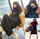 Fashion Winter Womens Warm A Hemp Flowers Turtleneck Thick Long Sweater Dress