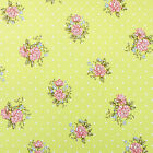 Lime Green Dotty Spot Floral Roses Wipeclean PVC Vinyl Tablecloth; All sizes