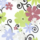 Blue Pink Green Floral Petals PVC Vinyl Wipe Clean Tablecloth; Rectangle, Round