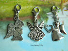GUARDIAN ANGEL PHONE HANDBAG CHARM CLIP ON PRAYING HEART LOSS MEMORIAL BABY