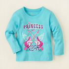 The Childrens Place PRINCESS OF ROCK Guitar Shimmer Girls Blue LS T-Shirt NWT