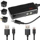 International Wall Charger Power Converter 3-AC&4-USB Outlet+2pc Lightning Cable