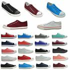 LADIES WOMENS FLAT DIAMANTE GIRLS PLIMSOLLS LACE UP CANVAS PUMPS TRAINERS SHOES