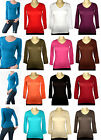 V-NECK Long Sleeve Womens Basic Solid Top Cotton T Shirt S-L Many Colors NEW!