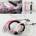 NEW Pink Crystal Ribbon Heart Breast Cancer Hope Connector Adjustable Bracelet