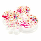 Multiple Sizes Color Pink Cherry Blossom Acrylic Flesh Tunnels White Ear Plugs