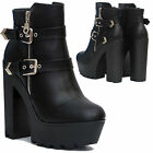 LADIES WOMENS HIGH HEEL BLOCK PLATFORM BUCKLE ZIP ANKLE BOOTS SHOES SIZE UK 3-8