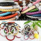 New Leather Wrap Wristband Cuff Punk Rhinestone Magnetic Buckle Bracelet Bangle