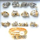 3 Gold diamante faux pearl stackable rings pretty petite adjustable