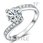 TTstyle Engagement Wedding Ring Clear Sparkling CZ Size 5-7 NEW