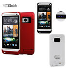 4200mAh External Backup Battery Charger Case Flip Power Bank Pack For HTC One M7