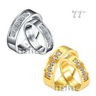 TT Stainless Steel Wedding Band Ring Set For Couple Silver/Gold Size 6-11 NEW