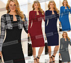 Womens Long Sleeve Elegant Tunic Stretch Work Party Cocktail Pencil Dress 102