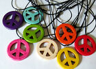 PEACE SIGN SYMBOL PENDANT black cord necklace blue pink  Hippy 70s men women new