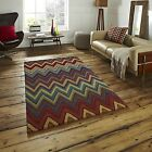 Aztec Hand Tufted 100% Wool Rug Large Heavy Weight Zig Zag Multi Colour Mat Home