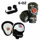 KIDS BOXING GLOVES PUNCH BAG JUNIOR MITTS & FOCUS PADS HAND WRAP TRAINING SET 6