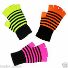 LADIES WOMENS GIRLS NEON COLOUR MAGIC FINGERLESS WINTER KNITTED GLOVES ONE SIZE