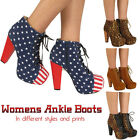 LADIES HIGH HEEL WOMENS BLOCK PLATFORM ANKLE SHOE BOOTS BOOTIES SIZE 3 4 5 6 7 8