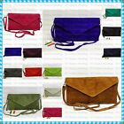 Italian Real Genuine Suede Leather Envelope Clutch Party Wedding Messenger Bag
