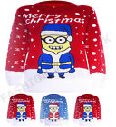WOMENS NOVELTY MINION SANTA KNITTED LADIES CHRISTMAS SWEATER JUMPER TOP  S-XL