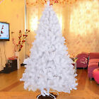White 5? / 6' / 7' / 7.5' Artificial Christmas Tree PINE Metal Stand Realistic Foldin