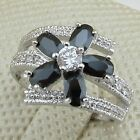 Size 7 8 Super Gorgeous Black & White Flower Jewelry Gold Filled Lady Ring R1542