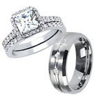 Glossy His Tungsten Hers .925 Sterling Silver Engagement Wedding Rings Band Set