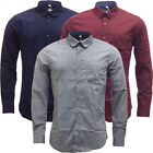 Mens Threadbare Plain Long Sleeve Shirt Smart / Casual New S M L XL