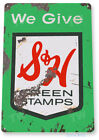 """TIN SIGN """"S & H Green Stamps"""" Metal Decor Art Kitchen Store Shop A601"""