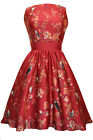 Lady V Vintage London Red Bird Floral Tea Dress Rockabilly Pinup 50's Swing Prom