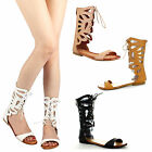Refresh ONGEE-10 Lady Midcalf Boot Cutout Zip Lace Up Gladiator Cage Flat Sandal