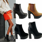 Ladies Womens Cleated Chunky Platform Sole Block Heel Ankle Chelsea Boots Shoes