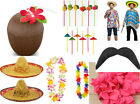 Hawaiian Beach Party Accessories Beachcomber Hat Grass Straws Coconut Cup Lei