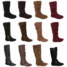 leather riding boots fashion - Womens Boots Mid Calf Fashion Flat Heel Riding Faux Leather Knee New Shoes Size