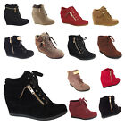 NEW Womens Wedge Sneakers High Heels Fashion Ankle Bootie Boot Shoes black size