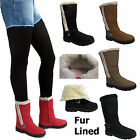 Ladies Mid Calf Boot Quilted Faux Fur Lined Grip Sole Womens Winter Snugg Shoes