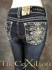 NWT Womens LA IDOL Bootcut Jeans with Thick Embroidered Fleurs! 3909BT