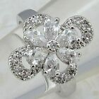 Size 6.5 7 7.5 9 Nice Flower White CZ Jewelry Gold Filled Woman Gift Ring K857