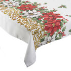 Festive Poinsettia Christmas Tablecloth 100% Polyester Floral Home Table Linen