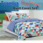 300TC Triangles Reversible Quilt Cover Set 100% Cotton - QUEEN KING