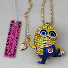 New Betsey Johnson Crystal Cute Cartoon character Pendant Chain Necklace