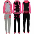 Womens Ladies Hoodie Neon Baseball Hoody Running Jogging Jumpsuit Tracksuit Set