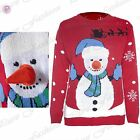 Womens Ladies 3D Fur Carrot Nose Snowman Christmas Knit Novelty Sweater Jumper
