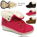LADIES GIRLS KIDS WEDGE HEEL PLATFORM FUR LINED CUFFED HI TOP PUMPS TRAINER BOOT