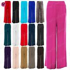 Womens Baggy Wide Legged Ladies Stretchy Trousers Pants Flared Palazzo Leggings