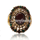 1PC Alloy Antique Copper Charm Crystal Rhinestone Jewelry Rings 23.5x18.5mm