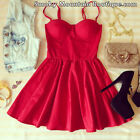 Sexy Red Bustier Dress with Adjustable Straps - Size S/M/L