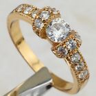 Size 5 6 7 Crazy Hot Nice White CZ Gems Yellow Gold Filled Flush Ring R1883