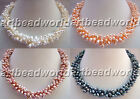 variations color 3 strand white pink purple black freshwater pearl necklace