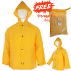 Men Waterproof Rain Jacket Snow Winter Storm Raincoat Fishing Work Hood Workwear
